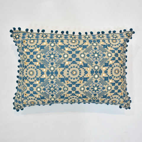 Blue Ethnic Embroidered Cushion Cover | 35 x 50 cm