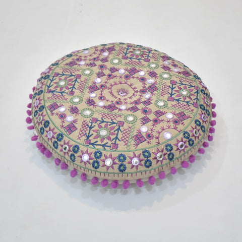 Purple Ethnic Style Round Indian Cushion | 40 x 40 cm