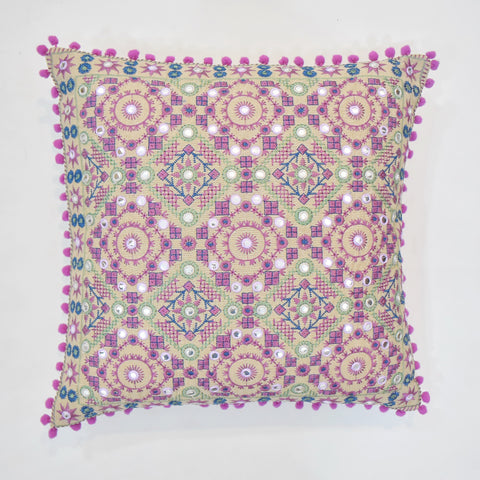 Purple Ethnic Embroidered Cushion Cover | 45 x 45 cm