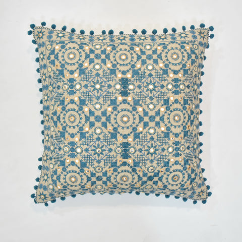 Blue Ethnic Embroidered Cushion Cover | 45 x 45 cm