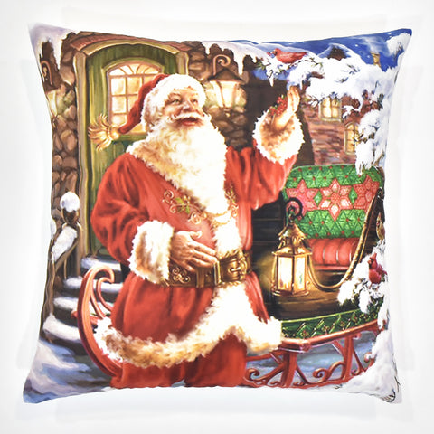 Santa with Sleigh Christmas Cushion Cover | 41 x 41 cm
