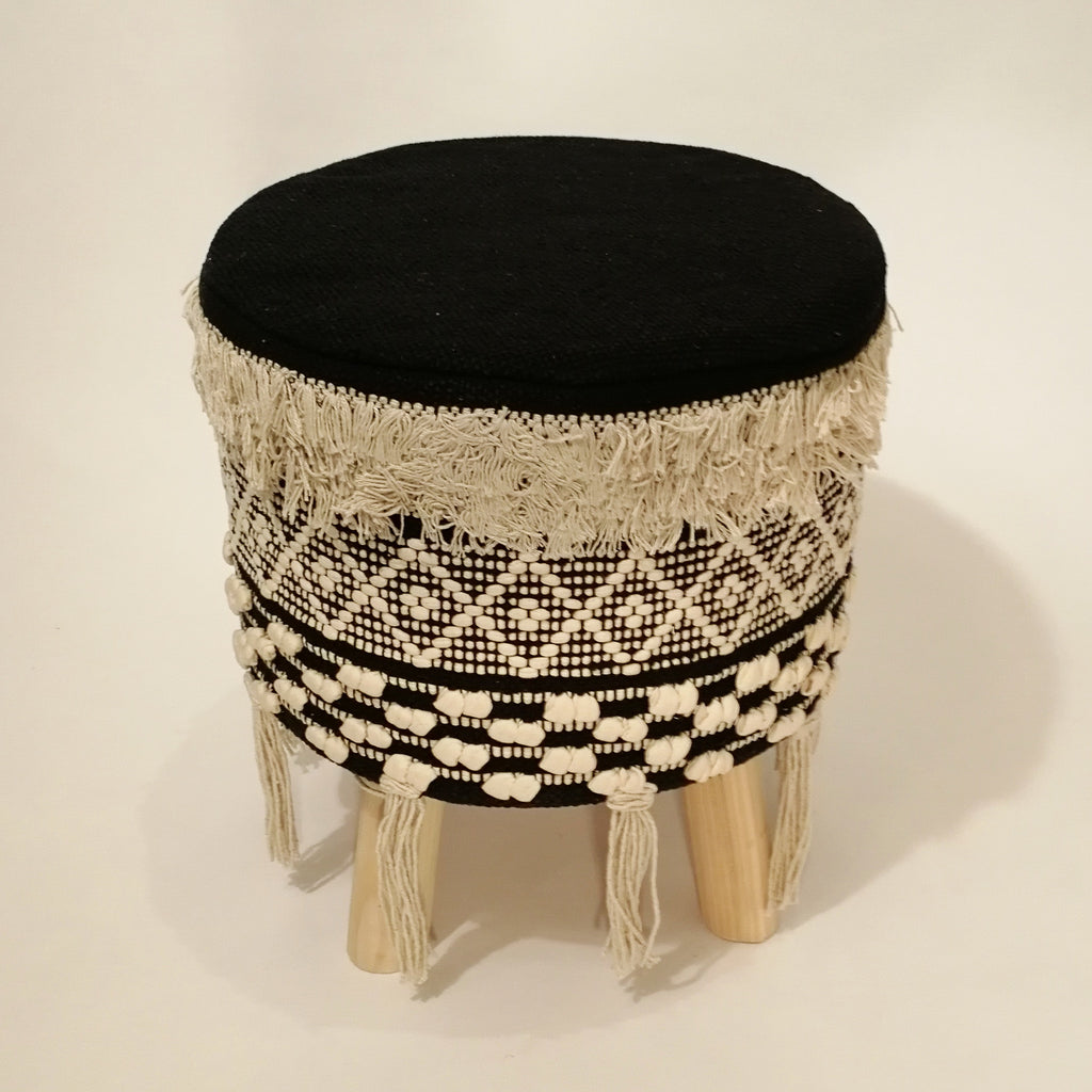 Magnificent Black Macrame Stool Ibusinesslaw Wood Chair Design Ideas Ibusinesslaworg