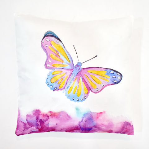 Pink Butterfly Printed Cushion | 45 x 45 cm