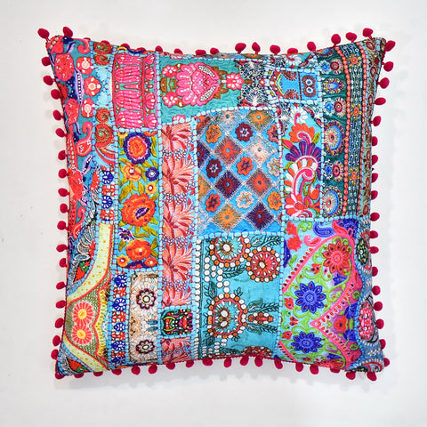 Turquoise Multicolor Indian Printed Cushion | 45 x 45 cm