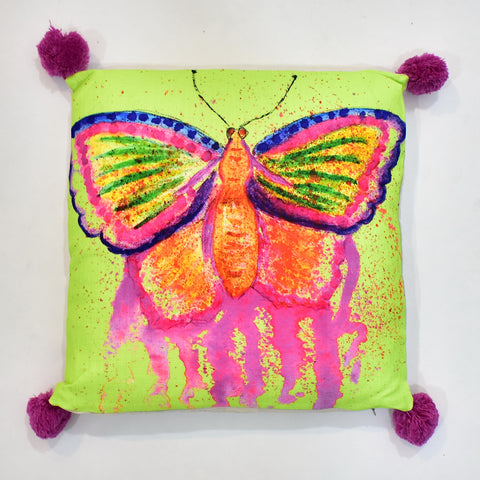 Multicolor Flashy Painted Butterfly Printed Cushion | 45 x 45 cm