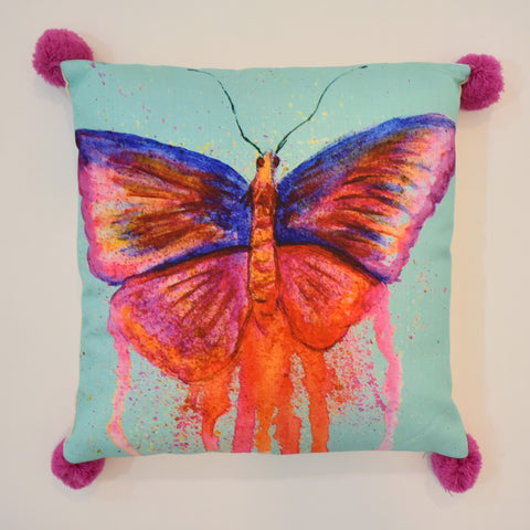 Multicolor Painted Butterfly Printed Cushion | 45 x 45 cm