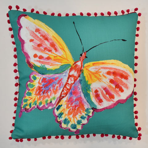 Multicolor Butterfly Printed Cushion | 45 x 45 cm