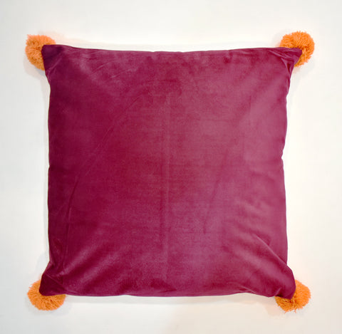 Plain Velvet Cushion with Pompoms | 45 x 45 cm
