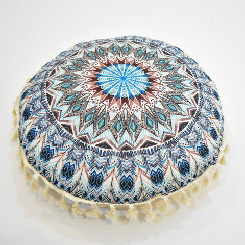 Blue Printed Mandala Style Round Cushion | 45 x 45 cm