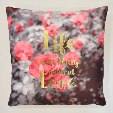 Metallic Love Saying Printed Cushion | 45 x 45 cm