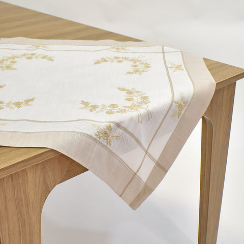 White & Ecru Square Table Topper | 36 inches