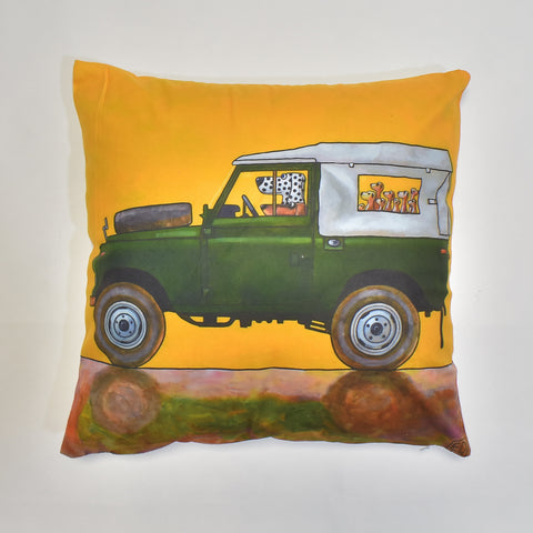 Green Jeep Printed Cushion Cover | 44 x 44 cm