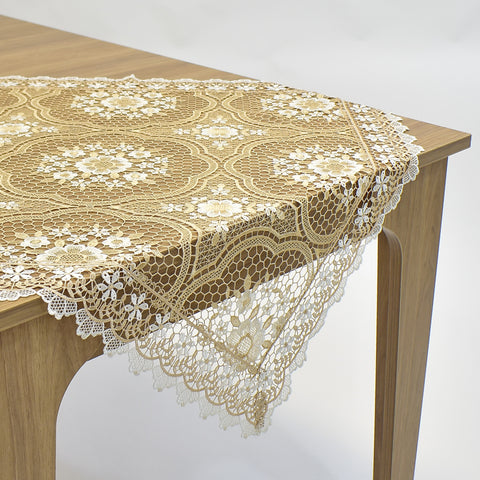 Beige Milan Square Table Topper | 36 inches