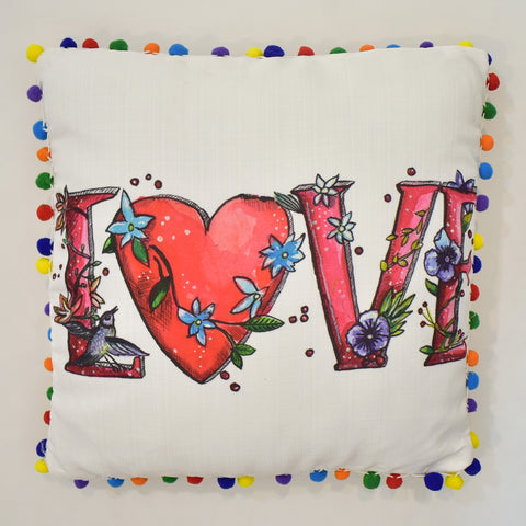 Multicolor Love Printed Cushion | 45 x 45 cm
