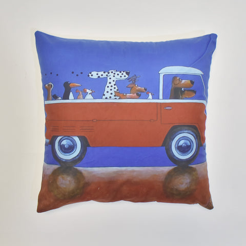 Red Truck Printed Cushion Cover | 44 x 44 cm
