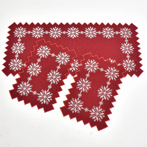 Christmas Snowflake 3 Piece Tablecloths Set