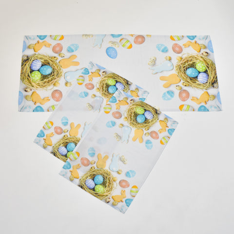 Printed Easter Eggs 3 Piece Tablecloths Set