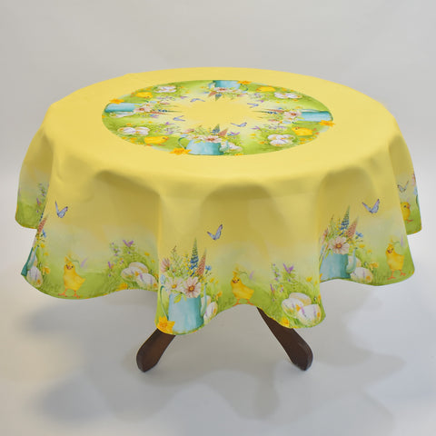 Printed Easter Chicks Round Table Topper | 180cm Round
