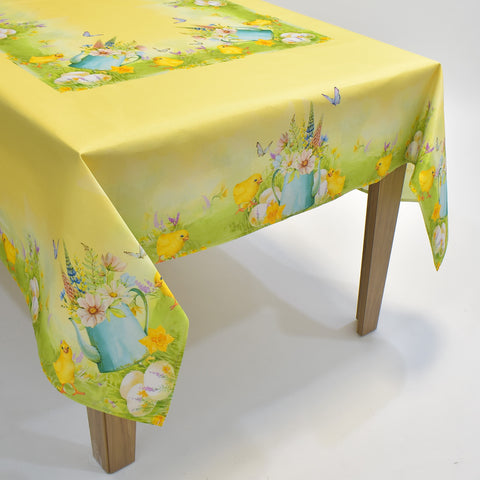 Printed Easter Chicks Table Topper | 72x90 inches