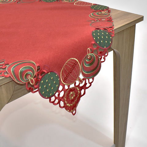 Christmas Ornaments Square Table Topper | 36 inches