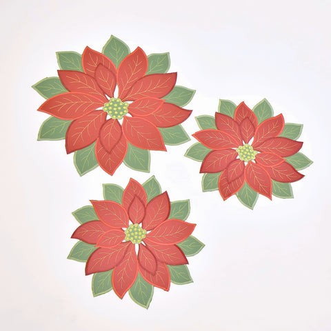 Christmas Flower Round 3 Piece Tablecloths Set