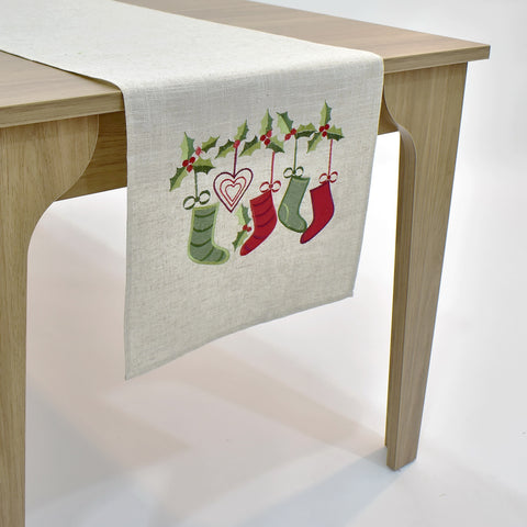 Christmas Stockings Table Runner | 16x72 inches