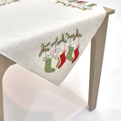Christmas Stockings Square Table Topper | 36 inches