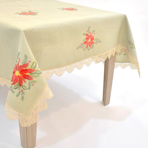 Poinsettia Lace Dining Table Topper | 72x108 inches