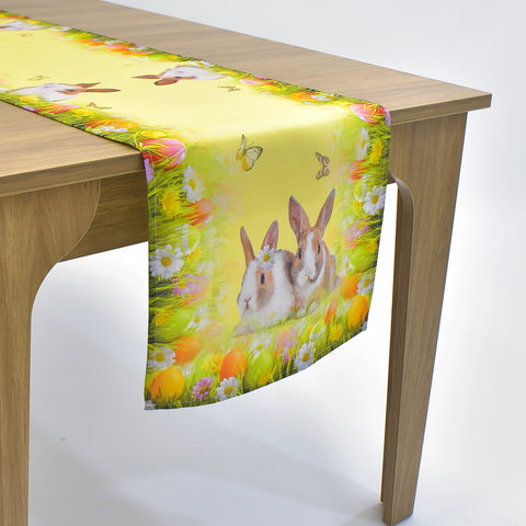 Printed Easter Bunnies Table Runner | 16x72 inches
