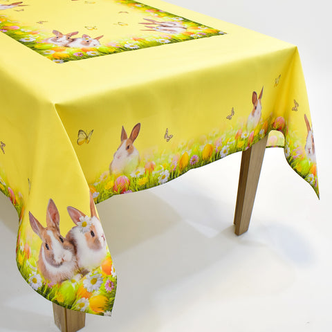 Printed Easter Bunnies Table Topper | 72x108 inches