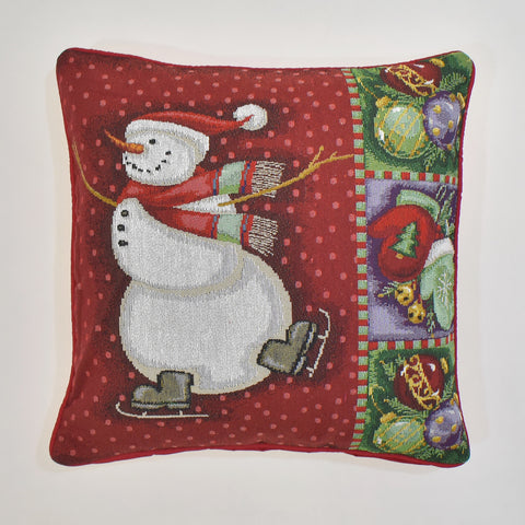 Christmas Snowman Tapestry Cushion Cover  | 45 x 45 cm