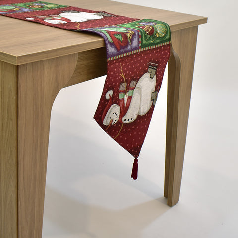 Christmas Snowman Tapestry Table Runner | 33 x 137 cm