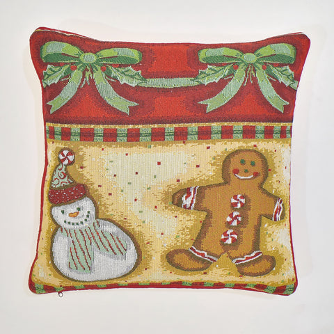Christmas Gingerbread Cookie Tapestry Cushion Cover | 45 x 45 cm