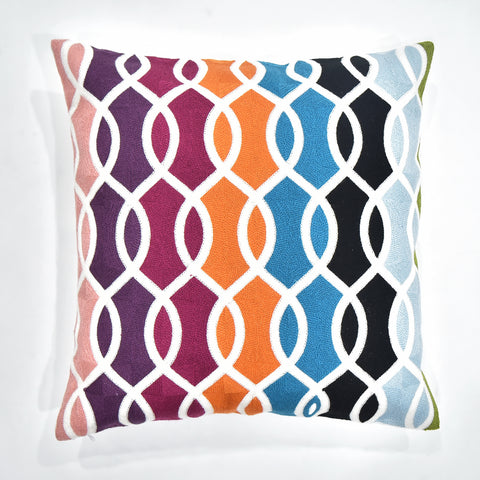 Colorful Pattern Embroidered Cushion Cover | 45 x 45 cm