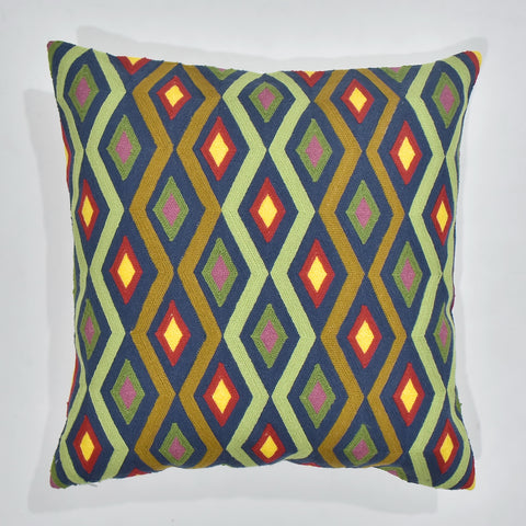 Vibrant Pattern Embroidered Cushion Cover | 45 x 45 cm