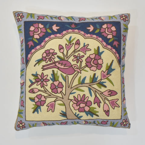 Bird Embroidered Cushion Cover | 45 x 45 cm