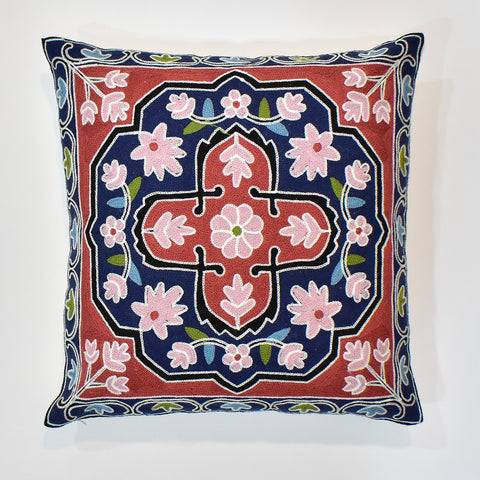 Full Floral Embroidered Cushion Cover | 45 x 45 cm