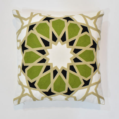 Arabesque Green Embroidered Cushion Cover | 45 x 45 cm