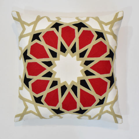 Arabesque Red Embroidered Cushion Cover | 45 x 45 cm