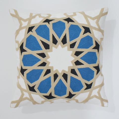 Arabesque Blue Embroidered Cushion Cover | 45 x 45 cm