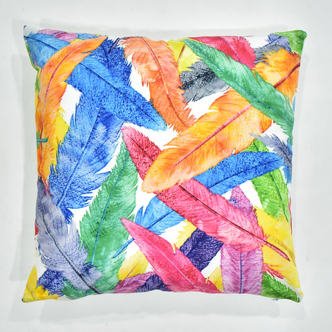 Multicolor Printed Feather Cushion Cover | 44 x 44 cm