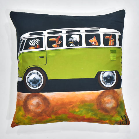 Green Van Printed Cushion Cover | 44 x 44 cm