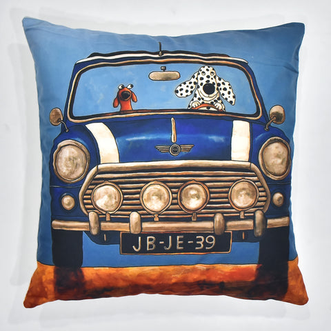 Blue Car Printed Cushion Cover | 44 x 44 cm