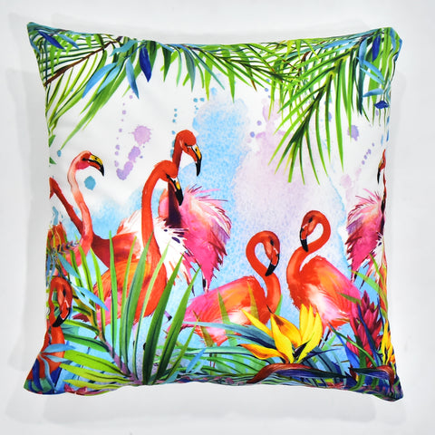 Cute Flamingoes Printed Cushion Cover | 44 x 44 cm