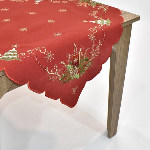 Christmas Candle Square Table Topper | 36 inches