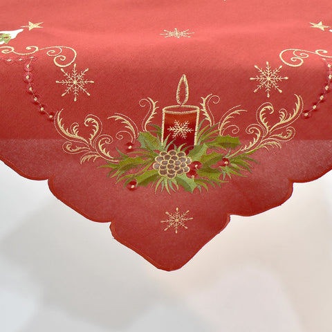Christmas Candle Square Table Topper | 54 inches