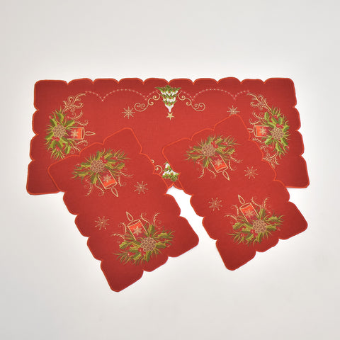 Christmas Candle 3 Piece Tablecloths Set