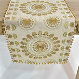 Ecru Mandala Style Table Runner | 16 x 72 inches