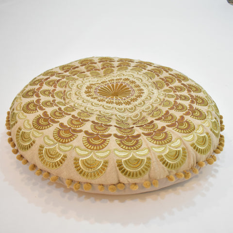 Ecru Mandala Style Round Indian Cushion | 55 x 55 cm