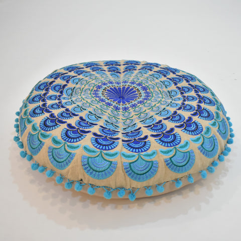 Turquoise Mandala Style Round Indian Cushion | 55 x 55 cm